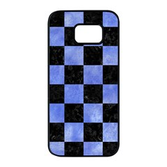 Square1 Black Marble & Blue Watercolor Samsung Galaxy S7 Edge Black Seamless Case by trendistuff