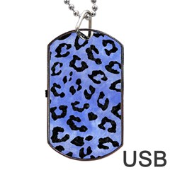 Skin5 Black Marble & Blue Watercolor Dog Tag Usb Flash (one Side) by trendistuff
