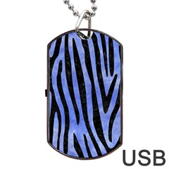 Skin4 Black Marble & Blue Watercolor Dog Tag Usb Flash (two Sides) by trendistuff