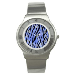 Skin3 Black Marble & Blue Watercolor (r) Stainless Steel Watch by trendistuff