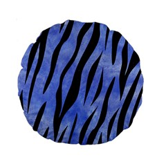 Skin3 Black Marble & Blue Watercolor (r) Standard 15  Premium Round Cushion  by trendistuff