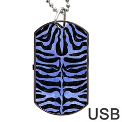 Skin2 Black Marble & Blue Watercolor Dog Tag Usb Flash (one Side) by trendistuff
