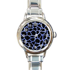Skin1 Black Marble & Blue Watercolor (r) Round Italian Charm Watch by trendistuff