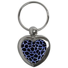 Skin1 Black Marble & Blue Watercolor (r) Key Chain (heart) by trendistuff