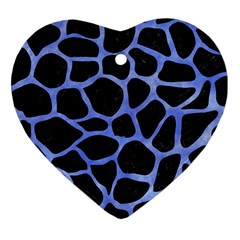 Skin1 Black Marble & Blue Watercolor (r) Heart Ornament (two Sides) by trendistuff