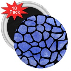 Skin1 Black Marble & Blue Watercolor 3  Magnet (10 Pack) by trendistuff