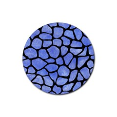 Skin1 Black Marble & Blue Watercolor Rubber Round Coaster (4 Pack) by trendistuff