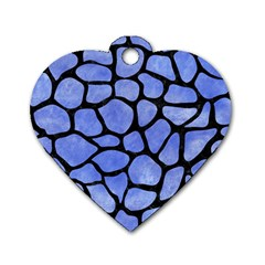 Skin1 Black Marble & Blue Watercolor Dog Tag Heart (two Sides) by trendistuff