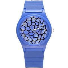 Skin1 Black Marble & Blue Watercolor Round Plastic Sport Watch (s) by trendistuff