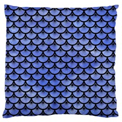 Scales3 Black Marble & Blue Watercolor (r) Large Flano Cushion Case (one Side) by trendistuff