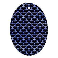 Scales3 Black Marble & Blue Watercolor Ornament (oval) by trendistuff