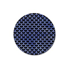 Scales3 Black Marble & Blue Watercolor Magnet 3  (round) by trendistuff