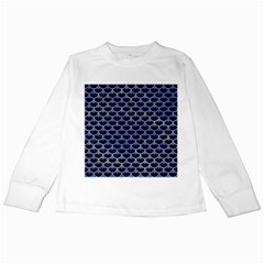 Scales3 Black Marble & Blue Watercolor Kids Long Sleeve T Shirt