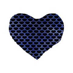 Scales3 Black Marble & Blue Watercolor Standard 16  Premium Heart Shape Cushion  by trendistuff