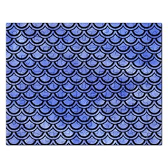 Scales2 Black Marble & Blue Watercolor (r) Jigsaw Puzzle (rectangular) by trendistuff