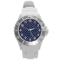 Scales2 Black Marble & Blue Watercolor Round Plastic Sport Watch (l) by trendistuff