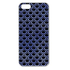 Scales2 Black Marble & Blue Watercolor Apple Seamless Iphone 5 Case (clear) by trendistuff