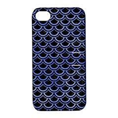 Scales2 Black Marble & Blue Watercolor Apple Iphone 4/4s Hardshell Case With Stand by trendistuff