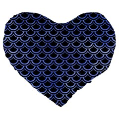 Scales2 Black Marble & Blue Watercolor Large 19  Premium Flano Heart Shape Cushion by trendistuff