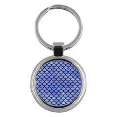 Scales1 Black Marble & Blue Watercolor (r) Key Chain (round) by trendistuff