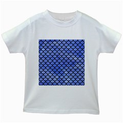 Scales1 Black Marble & Blue Watercolor (r) Kids White T Shirt by trendistuff