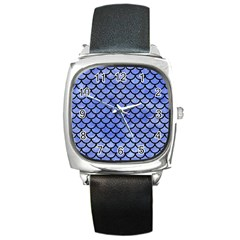 Scales1 Black Marble & Blue Watercolor (r) Square Metal Watch by trendistuff