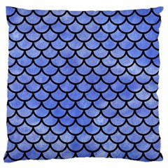Scales1 Black Marble & Blue Watercolor (r) Large Cushion Case (one Side) by trendistuff