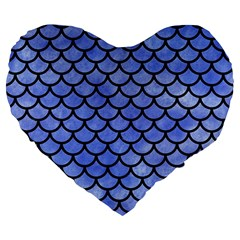 Scales1 Black Marble & Blue Watercolor (r) Large 19  Premium Flano Heart Shape Cushion by trendistuff