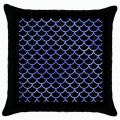 Scales1 Black Marble & Blue Watercolor Throw Pillow Case (black) by trendistuff