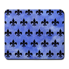 Royal1 Black Marble & Blue Watercolor Large Mousepad by trendistuff