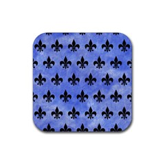Royal1 Black Marble & Blue Watercolor Rubber Coaster (square) by trendistuff