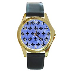 Royal1 Black Marble & Blue Watercolor Round Gold Metal Watch by trendistuff