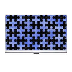 Puzzle1 Black Marble & Blue Watercolor Business Card Holder by trendistuff