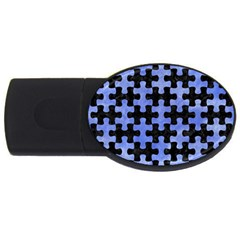 Puzzle1 Black Marble & Blue Watercolor Usb Flash Drive Oval (4 Gb) by trendistuff
