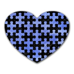 Puzzle1 Black Marble & Blue Watercolor Heart Mousepad by trendistuff
