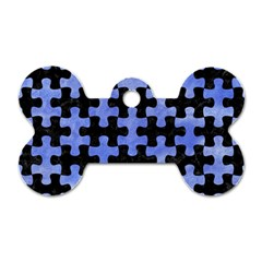 Puzzle1 Black Marble & Blue Watercolor Dog Tag Bone (one Side)
