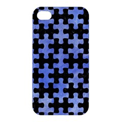 Puzzle1 Black Marble & Blue Watercolor Apple Iphone 4/4s Premium Hardshell Case by trendistuff