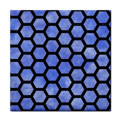 Hexagon2 Black Marble & Blue Watercolor (r) Tile Coaster by trendistuff
