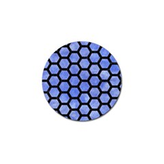 Hexagon2 Black Marble & Blue Watercolor (r) Golf Ball Marker (4 Pack) by trendistuff