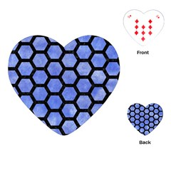 Hexagon2 Black Marble & Blue Watercolor (r) Playing Cards (heart) by trendistuff