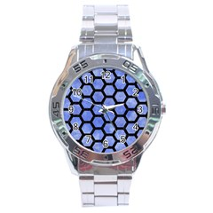 Hexagon2 Black Marble & Blue Watercolor (r) Stainless Steel Analogue Watch by trendistuff