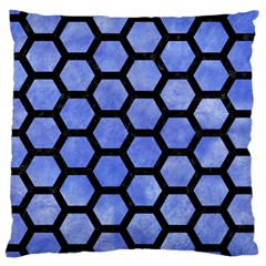 Hexagon2 Black Marble & Blue Watercolor (r) Large Cushion Case (one Side) by trendistuff