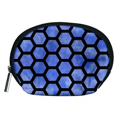 Hexagon2 Black Marble & Blue Watercolor (r) Accessory Pouch (medium) by trendistuff