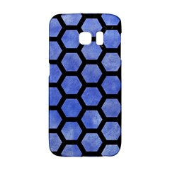 Hexagon2 Black Marble & Blue Watercolor (r) Samsung Galaxy S6 Edge Hardshell Case by trendistuff