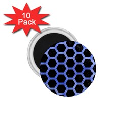 Hexagon2 Black Marble & Blue Watercolor 1 75  Magnet (10 Pack)  by trendistuff