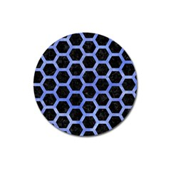 Hexagon2 Black Marble & Blue Watercolor Magnet 3  (round) by trendistuff