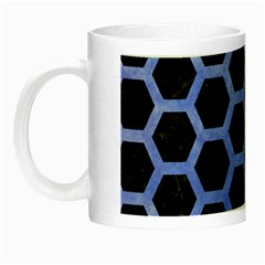 Hexagon2 Black Marble & Blue Watercolor Night Luminous Mug by trendistuff
