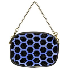 Hexagon2 Black Marble & Blue Watercolor Chain Purse (two Sides) by trendistuff