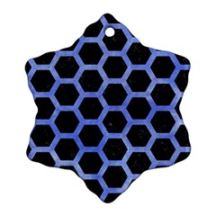 Hexagon2 Black Marble & Blue Watercolor Snowflake Ornament (two Sides) by trendistuff