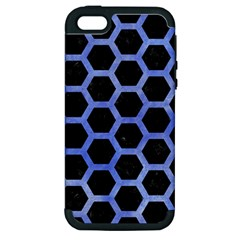 Hexagon2 Black Marble & Blue Watercolor Apple Iphone 5 Hardshell Case (pc+silicone)